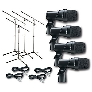 Digital Reference DRDK4 4-Piece Drum Microphone Kit Cable and Stand Package