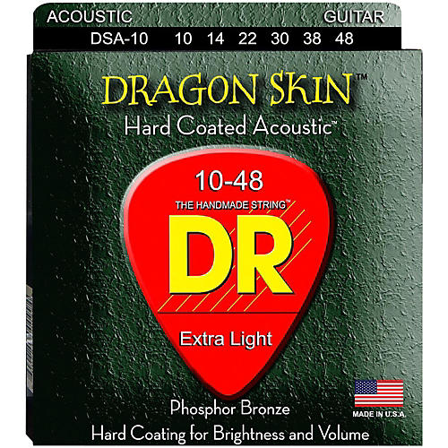 DR Strings DSA-10 Dragonskin K3 Coated Acoustic Strings Light-thumbnail