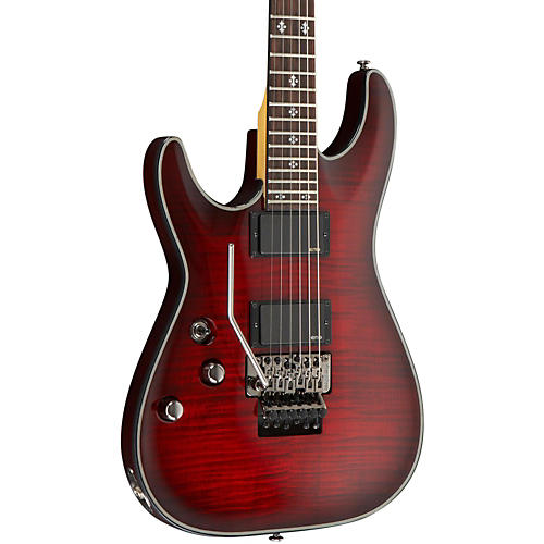 Schecter Guitar Research Damien Elite-6 Left Handed Electric Guitar with Floyd Rose Crimson Red Burst