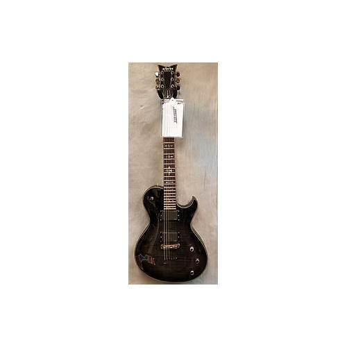 Schecter Guitar Research Damien Elite Solo Solid Body Electric Guitar Trans Black Flame