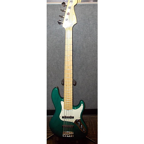 Fender Deluxe Jazz Bass V 5 String Green Electric Bass Guitar-thumbnail