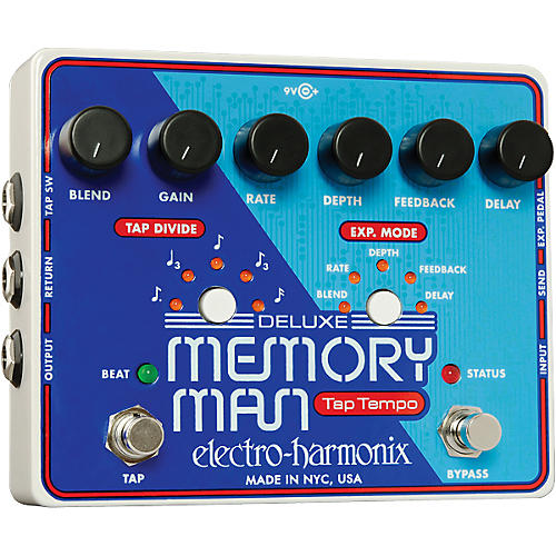 Electro-Harmonix Deluxe Memory Man with Tap Tempo Delay Guitar Effects Pedal-thumbnail