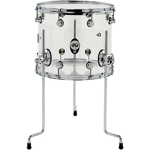 DW Design Series Acrylic Floor Tom with Chrome Hardware 14 x 12 in. Clear