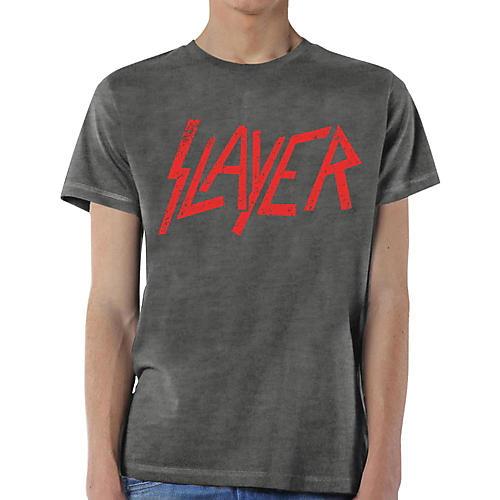 Slayer Distressed Logo T-Shirt X Large Gray