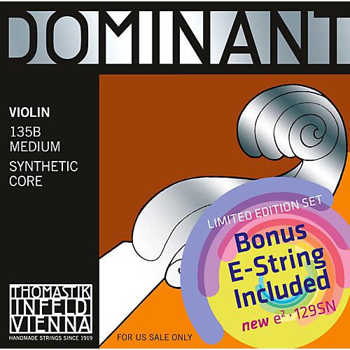 Thomastik Dominant 135B Bonus Set with Free Dominant Tin-Plated E String-thumbnail