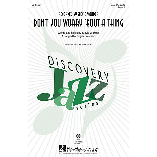 Hal Leonard Don't You Worry 'Bout a Thing SAB by Stevie Wonder arranged by Roger Emerson