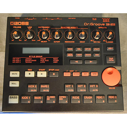 Boss Dr202 Black And Red Drum Machine-thumbnail