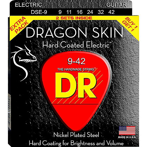 DR Strings Dragon Skin (2 Pack) Light Coated Electric Guitar Strings (9-42)-thumbnail