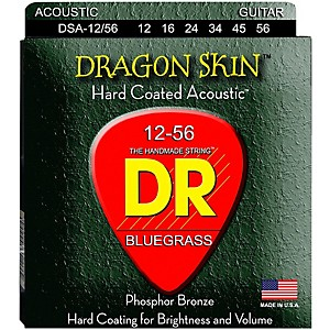DR Strings Dragon Skin Clear Coated Acoustic Bluegrass Guitar Strings 12-5... by DR Strings