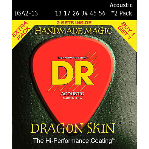 DR Strings Dragon Skin Clear Coated Phosphor Bronze Heavy Acoustic Guitar Strings (13-56) 2 Pack-thumbnail