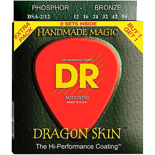 DR Strings Dragon Skin Clear Coated Phosphor Bronze Medium Acoustic Guitar Strings (12-54) 2 Pack-thumbnail