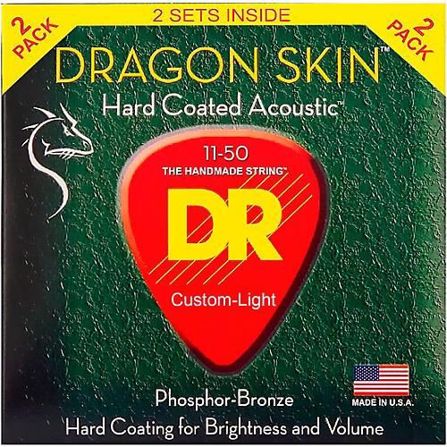 DR Strings Dragon Skin Clear Coated Phosphor Bronze Medium-Light Acoustic Guitar Strings (11-50) 2 Pack-thumbnail