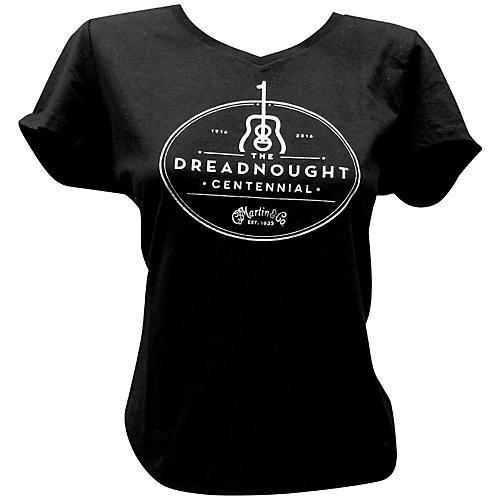 Martin Dreadnought Centennial V-Neck Ladies T-Shirt Small Black