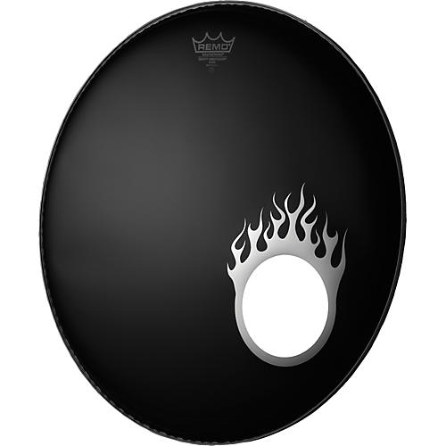 Remo Dynamo Bass Drum Port Graphic Flame Chrome 5 in.