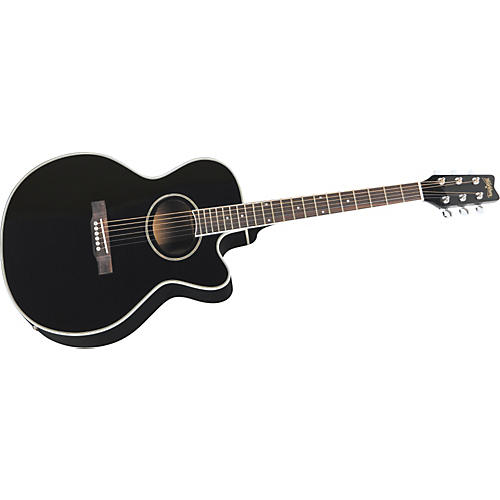 Washburn EA8B Cutaway Acoustic-Electric Guitar (Black)