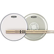 Evans EC Reverse Dot Snare Batter and Snare Side Head Pack with Free Pair of Pro-Mark Sticks