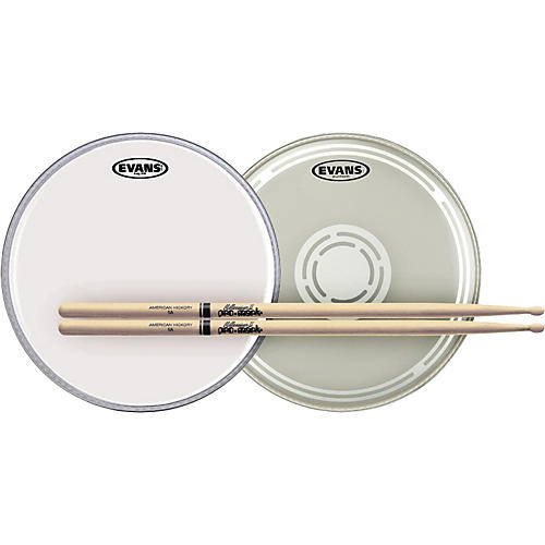 Evans EC Reverse Dot Snare Batter and Snare Side Head Pack with Free Pair of Pro-Mark Sticks Wood 5A