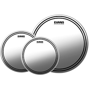 Evans EC2S Clear Tom Heads with Free 14 in. HD Dry Snare Head by Evans