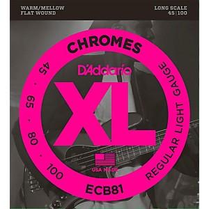 Daddario ECB81 XL Chromes Flatwound Bass Strings by D'Addario