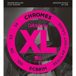 Daddario ECB81M Chromes Flat Wound Electric Bass Strings Light Medium Scal...