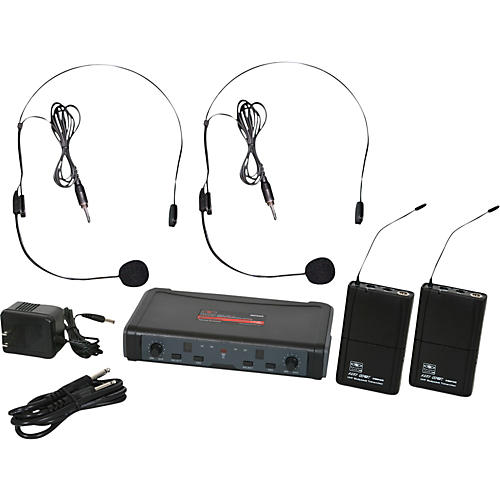 Galaxy Audio ECD Dual Channel UHF Wireless System with Dual Headset Microphones-thumbnail