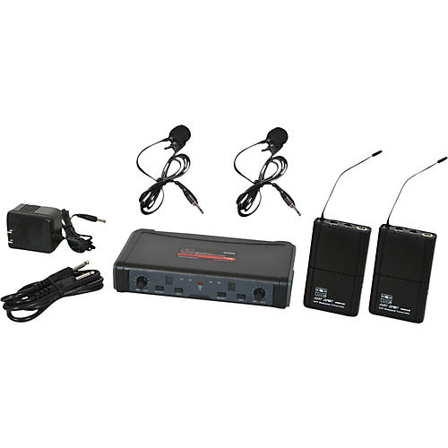 Galaxy Audio ECD Dual Channel UHF Wireless System with Dual Lavalier Microphones Band D