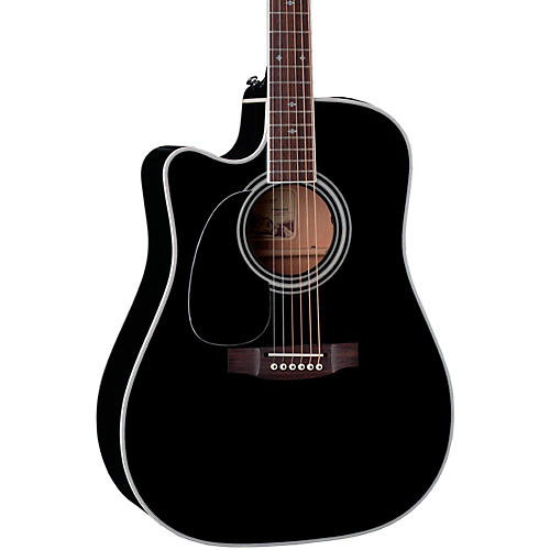 Takamine EF341SC-LH Legacy Series Dreadnought Left-Handed Acoustic-Electric Guitar Gloss Black