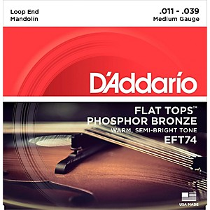 D'Addario EFT74 Flat Tops Medium Mandolin Strings 11-39 by DAddario
