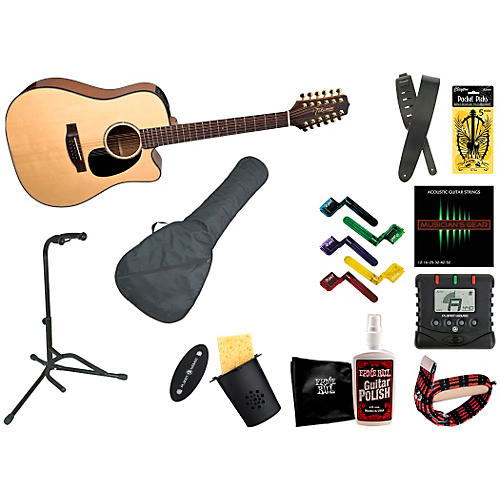 Takamine EG345C 12-String Dreadnought Acoustic-Electric Guitar Bundle-thumbnail