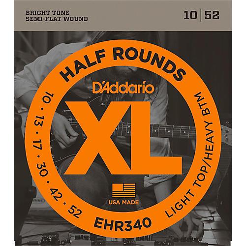 D'Addario EHR340 Half Round Light Top Heavy Bottom Electric Guitar Strings-thumbnail