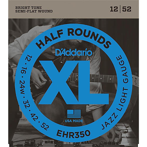 D'Addario EHR350 Half Round Jazz Light Electric Guitar Strings
