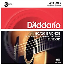 D'Addario EJ12-3D 80/20 Bronze Medium Acoustic Guitar Strings 3-Pack Level 1