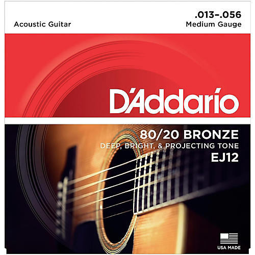 D'Addario EJ12 80/20 Bronze Medium Acoustic Guitar Strings
