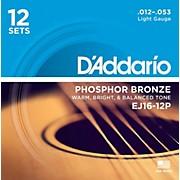 D'Addario EJ16-12P Phosphor Bronze Light Acoustic Guitar String (12-Pack)