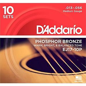 Daddario EJ17-10P Phosphor Bronze Medium Acoustic Strings 10 Pack by D'Addario