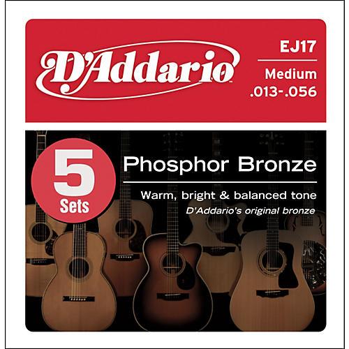 D'Addario EJ17-5P Phosphor Bronze Acoustic Guitar Strings Medium
