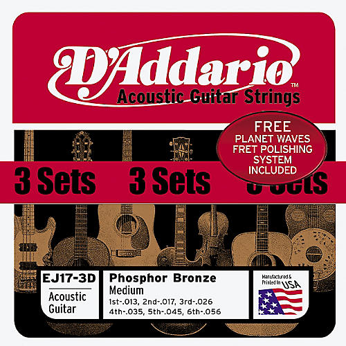 D'Addario EJ17 Phosphor Bronze Light Acoustic Guitar Strings 3 Pack w/Fret Polish Paper