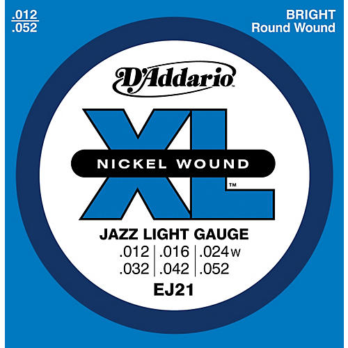 D'Addario EJ21 XL Nickel Jazz Light Electric Guitar Strings-thumbnail