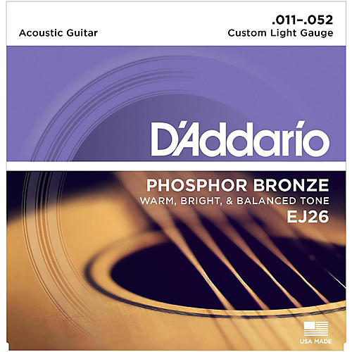 D'Addario EJ26 Phosphor Bronze Custom Light Acoustic Guitar Strings-thumbnail