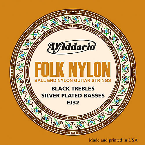 D'Addario EJ32 Folk Nylon Silver/Ball End Black Treble Guitar Strings
