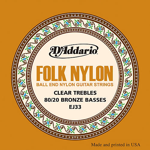 d 39 addario ej33 folk nylon 80 20 bronze ball end clear treble guitar strings guitar center. Black Bedroom Furniture Sets. Home Design Ideas