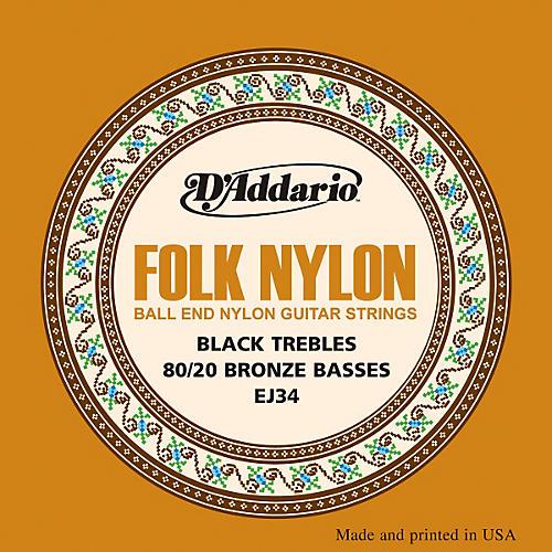 D'Addario EJ34 Folk Nylon 80/20 Bronze/Ball End Black Treble Guitar Strings-thumbnail