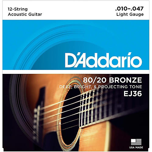 D'Addario EJ36 12-String 80/20 Bronze Light Acoustic Guitar Strings-thumbnail