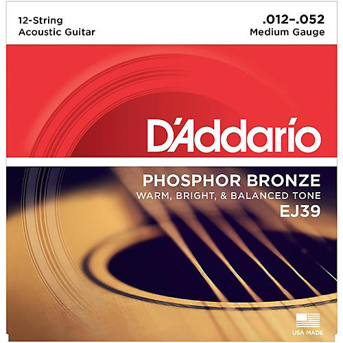 D'Addario EJ39 PB Medium 12-String Acoustic Guitar String Set