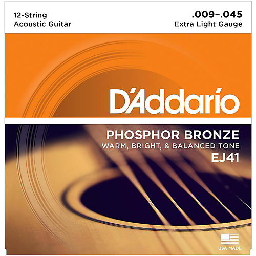 D'Addario EJ41 12-String Phosphor Bronze Extra Light Acoustic Guitar Strings-thumbnail