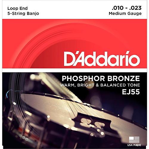 D'Addario EJ55 Phosphor Bronze Medium 5-String Banjo Strings (10-23)-thumbnail
