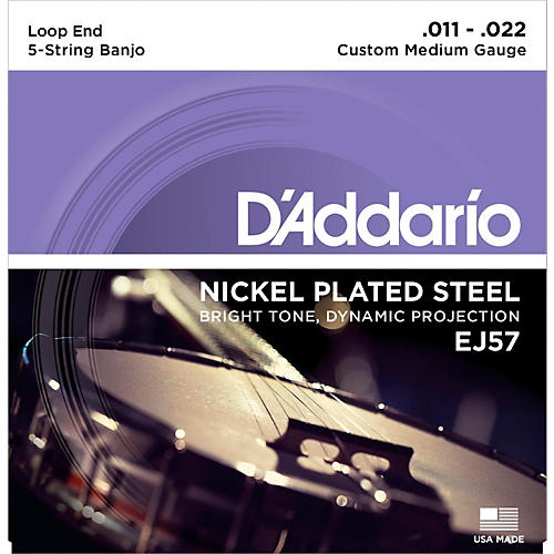 D'Addario EJ57 Nickel Custom Medium 5-String Banjo Strings (11-22)-thumbnail
