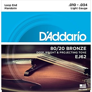 D'Addario EJ62 80/20 Bronze Mandolin Strings, Light, 10-34 by DAddario