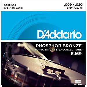 Daddario EJ69 Phosphor Bronze Light 5 String Banjo Strings 9-20 by D'Addario