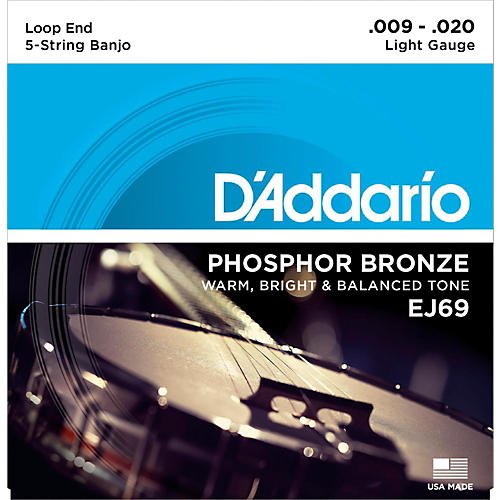 D'Addario EJ69 Phosphor Bronze Light 5-String Banjo Strings (9-20)-thumbnail